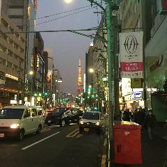 右に曲がると目に飛び込んでくるのはあの「東京タワー」!<br>ここまできたらひたすら直進!目的地はもうすぐ!<br>徒歩1分 約100m