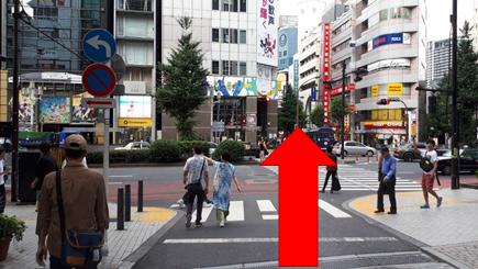 大通り(靖国通り)に出たら、横断歩道を渡って直進。